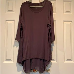 LOGO plum tunic with lace extended back size 2X